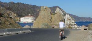 Cycling toward Avalon on the coastal road.